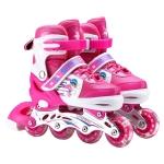 Adjustable Full Flash Children Single Row Four-wheel Roller Skates Skating Shoes, Size : M(Pink)