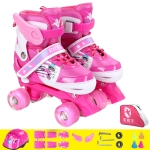 Adjustable Full Flash Children Double Row Four-wheel Roller Skates Skating Shoes Set, Size : L(Pink)