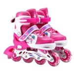 Adjustable Full Flash Children Single Row Four-wheel Roller Skates Skating Shoes, Size : L(Pink)