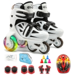 Adjustable Children Flash Four-wheel Roller Skates Skating Shoes with Protective Clothing + Bag, Size : S (Black White)