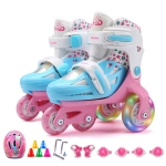 Adjustable Children Flash Four-wheel Roller Skates Skating Shoes with Protective Clothing, Size : S (Pink)