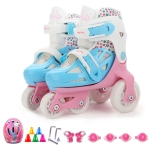 Adjustable Children Four-wheel Roller Skates Skating Shoes with Protective Clothing, Size : S (Pink)