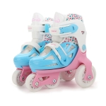 Adjustable Children Four-wheel Roller Skates Skating Shoes, Size : XS (Pink)