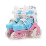 Adjustable Children Four-wheel Roller Skates Skating Shoes, Size : XS (Pink)