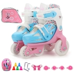 Adjustable Children Four-wheel Roller Skates Skating Shoes with Protective Clothing + Bag, Size : XS (Pink)
