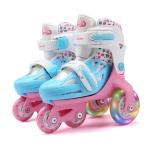Adjustable Children Flash Four-wheel Roller Skates Skating Shoes, Size : XS (Pink)