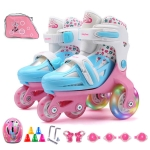 Adjustable Children Flash Four-wheel Roller Skates Skating Shoes with Protective Clothing + Bag, Size : XS (Pink)