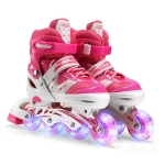 Adjustable Children Full Flash Single Four-wheel Roller Skates Skating Shoes, Size : S (Pink)