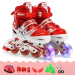 Adjustable Children Single Flash Single Four-wheel Roller Skates Skating Shoes Set, Size : S(Red)