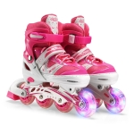 Adjustable Children Single Flash Single Four-wheel Roller Skates Skating Shoes, Size : L (Pink)