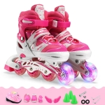 Adjustable Children Single Flash Single Four-wheel Roller Skates Skating Shoes Set, Size : L (Pink)