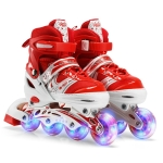 Adjustable Children Full Flash Single Four-wheel Roller Skates Skating Shoes, Size : L (Red)