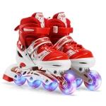 Adjustable Children Full Flash Single Four-wheel Roller Skates Skating Shoes, Size : L (Red)