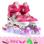 Adjustable Children Full Flash Single Four-wheel Roller Skates Skating Shoes Set, Size : L (Pink)