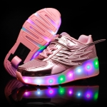 K03 LED Light Single Wheel Wing Mesh Surface Roller Skating Shoes Sport Shoes, Size : 32 (Pink)