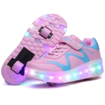 786 LED Light Ultra Light Double Wheel Roller Skating Shoes Sport Shoes, Size : 32 (Pink)