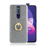 Glittery Powder Shockproof TPU Protective Case for OPPO F11 Pro, with 360 Degree Rotation Ring Holder (Black)