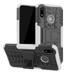 Tire Texture TPU+PC Shockproof Case for OPPO Realme 3, with Holder (White)