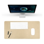 BUBM Multifunction Super Large Non-slip PU Leather Double-sided Pearlescent Mouse Pad Office Desk Mat, Size: 80 x 40cm(Gold)