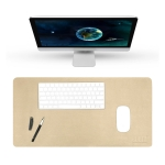 BUBM Multifunction Super Large Non-slip PU Leather Double-sided Pearlescent Mouse Pad Office Desk Mat, Size: 90 x 45cm(Gold)