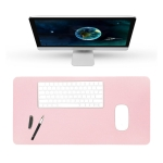 BUBM Multifunction Super Large Non-slip PU Leather Single-sided Mouse Pad Office Desk Mat, Size: 90 x 45cm(Pink)