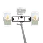 PULUZ Live Broadcast Multi-camera Stand Clip Bracket Holder with 3 x 1/4 inch Threads Screw(Black)