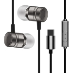 YX-022 1.2m Wired In Ear USB-C / Type-C Interface Metal Stereo Earphones with Mic (Grey)