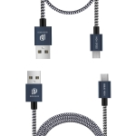 DUX DUCIS 2A USB-C / Micro-C Charging Cable Length 1m + Short 0.2m Braided Data Cable(Blue)