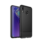 Lewei Series Carbon Fiber Texture TPU Protective Case for Galaxy M20 (Black)