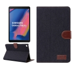Denim Texture PC Horizontal Flip Leather Protective Case for Tab A 8 (2019) P200 / P205  , with Holder & Card Slots & Wallet & Photo Frame (Black)