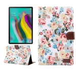 Flower Cloth Texture PC Horizontal Flip Leather Protective Case for Galaxy Tab S5e T720 / T725  , with Holder & Card Slots & Wallet & Photo Frame (White)