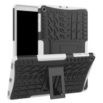 Tire Texture TPU+PC Shockproof Case for Galaxy Tab A 10.1 2019 T510 / T515 , with Holder (White)