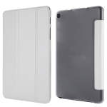 Silk Texture Horizontal Flip Leather Case with Three-Folding Holder for Galaxy Tab P200(White)