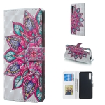 Half Flower Pattern 3D Horizontal Flip Leather Case for Galaxy A50, with Holder & Card Slots & Photo Frame & Wallet