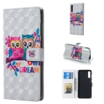 Lovers Owl Pattern 3D Horizontal Flip Leather Case for Galaxy A70, with Holder & Card Slots & Photo Frame & Wallet