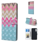 Color Wave 3D Pattern Horizontal Flip Leather Case for Galaxy A70, with Holder & Card Slots & Photo Frame & Wallet