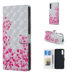 Sakura Pattern 3D Horizontal Flip Leather Case for Galaxy A70, with Holder & Card Slots & Photo Frame & Wallet