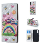 Owl Family Pattern 3D Horizontal Flip Leather Case for Galaxy A70, with Holder & Card Slots & Photo Frame & Wallet