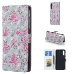 Rose Pattern 3D Horizontal Flip Leather Case for Galaxy A70, with Holder & Card Slots & Photo Frame & Wallet