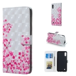Sakura Pattern 3D Horizontal Flip Leather Case for Galaxy M10, with Holder & Card Slots & Photo Frame & Wallet