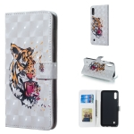 Tiger Pattern 3D Horizontal Flip Leather Case for Galaxy M10, with Holder & Card Slots & Photo Frame & Wallet