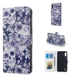Skull and Flower Pattern 3D Horizontal Flip Leather Case for Galaxy M10, with Holder & Card Slots & Photo Frame & Wallet