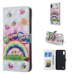 Owl Family Pattern 3D Horizontal Flip Leather Case for Galaxy M10, with Holder & Card Slots & Photo Frame & Wallet
