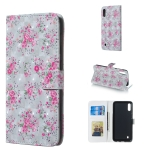 Rose Pattern 3D Horizontal Flip Leather Case for Galaxy M10, with Holder & Card Slots & Photo Frame & Wallet