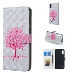 Pink Tree Pattern 3D Horizontal Flip Leather Case for Galaxy M10, with Holder & Card Slots & Photo Frame & Wallet