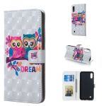 Lovers Owl Pattern 3D Horizontal Flip Leather Case for Galaxy M10, with Holder & Card Slots & Photo Frame & Wallet
