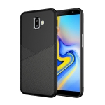 Ultra-thin Shockproof Soft TPU + Leather Case for Galaxy J6 (2018) (Black)