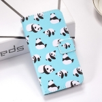 Pandas Pattern Colored Drawing Horizontal Flip Leather Case for Galaxy S10+, with Holder & Card Slots & Wallet & Lanyard