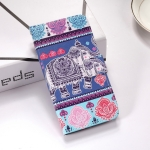 Elephant Pattern Colored Drawing Horizontal Flip Leather Case for Galaxy S10e, with Holder & Card Slots & Wallet & Lanyard