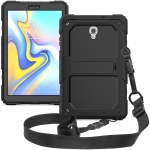 Shockproof PC + Silica Gel Protective Case for Galaxy Tab A 10.5 T590, with Holder & Shoulder Strap (Black)